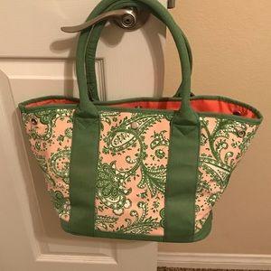 J Crew Cotton Tote Bag - Paisley Pink Green White